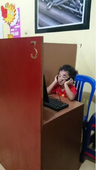 in front of computer 3